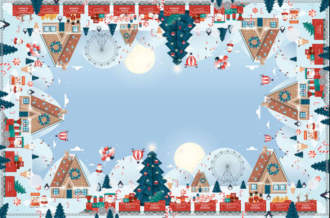 Пряничные снежные домики Новогодняя скатерть